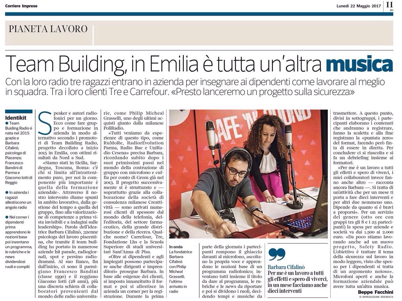 """Corriere Della Sera: """"Team Building Radio. In Emilia è Tutta Un'altra Musica"""""""